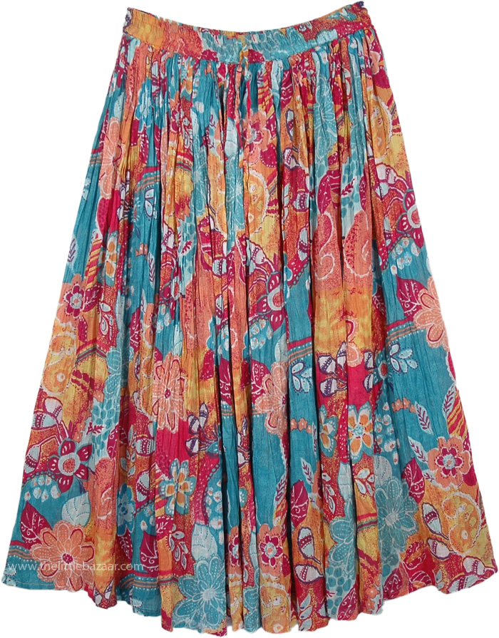 Cotton fabric long skirt with floral print, Pacific Island Summer Floral Skirt