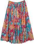 Cotton fabric long skirt with floral print [4425]