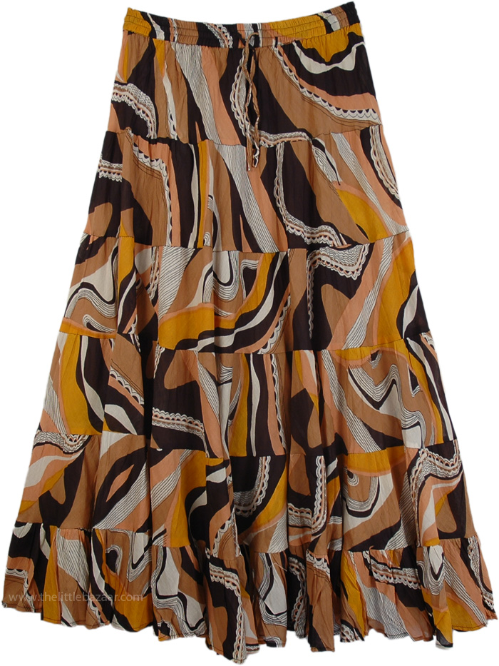 Peasant Skirt in Brown for Summer, Abstract Flowing Womens Cotton Skirt