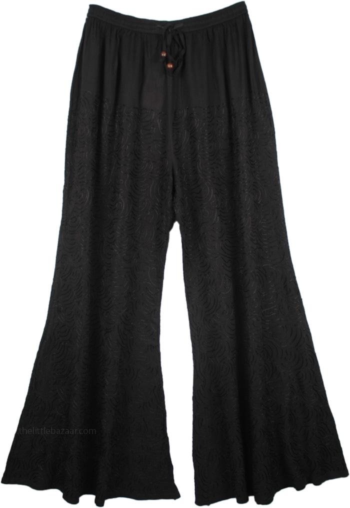Yoga Black Pants with Embroidery, Black Embroidered Rayon Flare Leg Pants