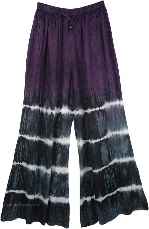 Tie Dye Palazzo Flare Pants, Purple Tie Dye Wide Leg Drawstring Pants
