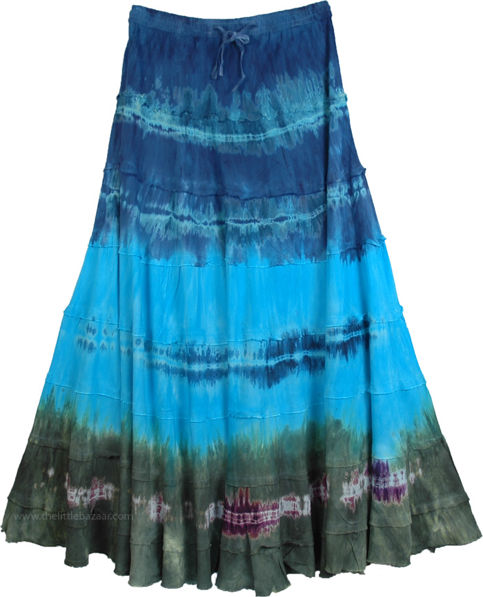 Magical Tantra Tie Dye Skirt, Calypso Tie Dye Layered Skirt