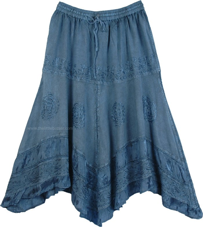 Bismarck Rodeo Skirt with Embroidery, Handkerchief Hem Embroidered Blue Skirt