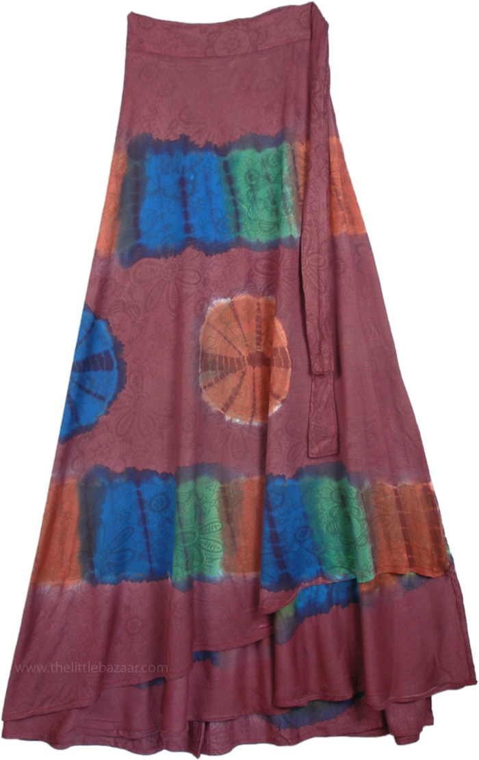 Rose Printed Tie Dye Wrap Around Long skirt, Copper Rose Soft Long Wrap Skirt