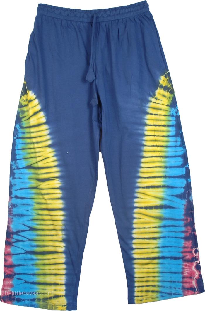 Boho Pants Cotton Tie Dye, Sunfire Tie Dye Lounge Pajama Pants
