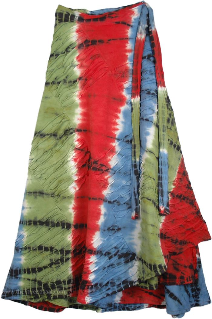 Razor Cut Tie Dye Wrap Around Long skirt, Wrapper Skirt in T-Shirt Fabric Razor Cut
