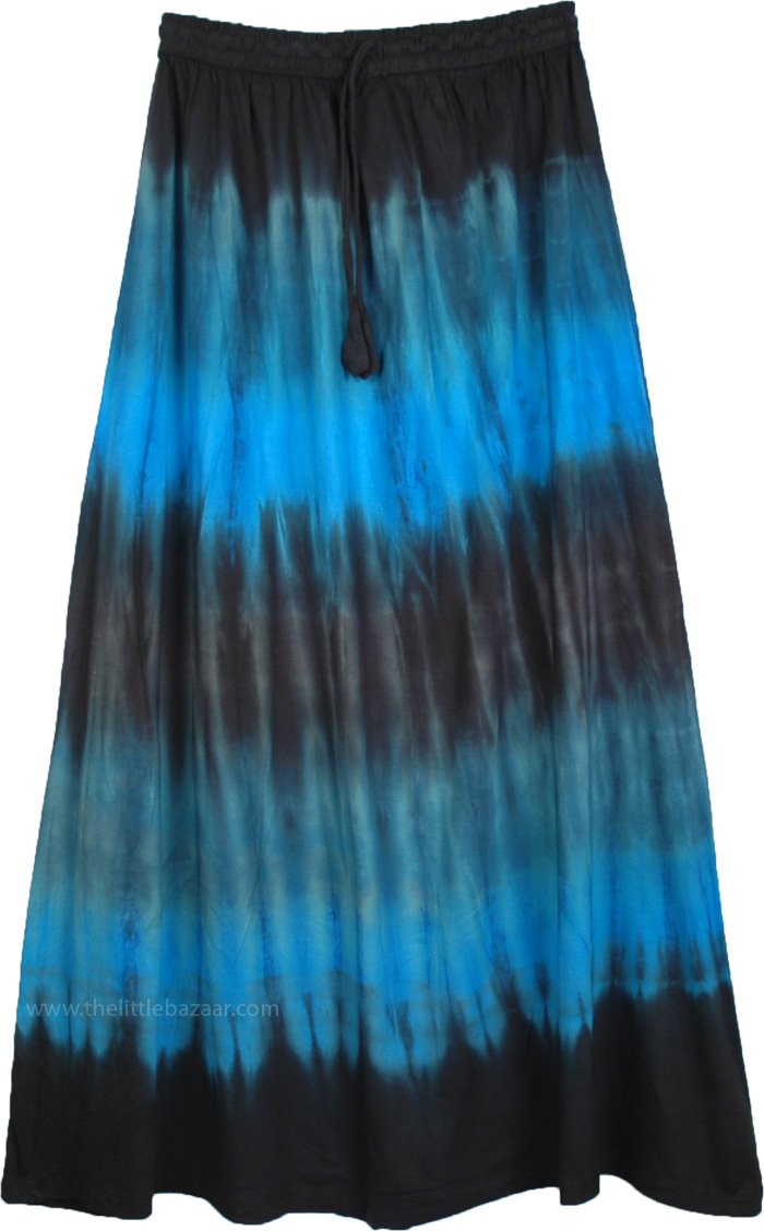Maxi Womens Skirt in Cascading Colors, Long Maxi Summer Skirt in Black and Blue