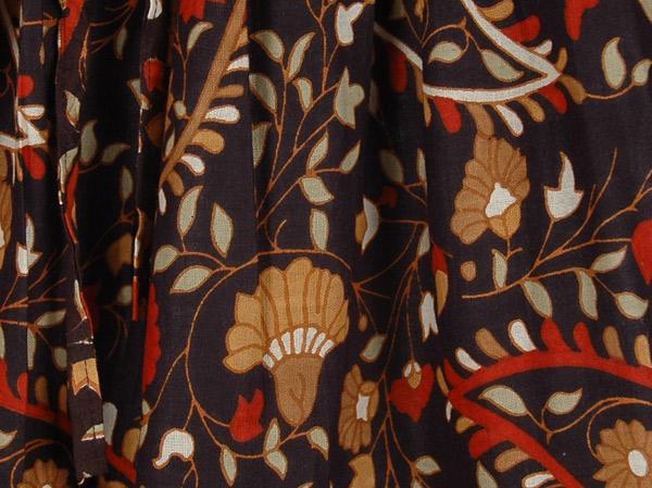 Black Dense Floral Summer Long Skirt