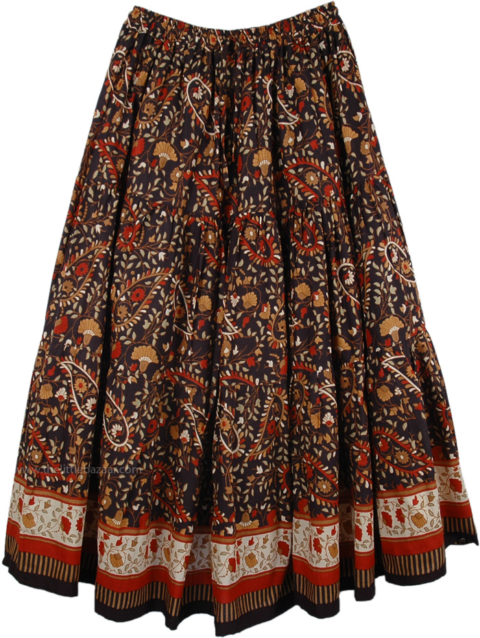 Black Red Print Long Skirt, Black Dense Floral Summer Long Skirt