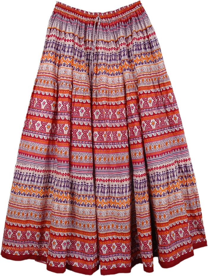 Bold Beautiful Patterns Cotton Printed Long Skirt, Fiery Boho Cotton Print Long Skirt