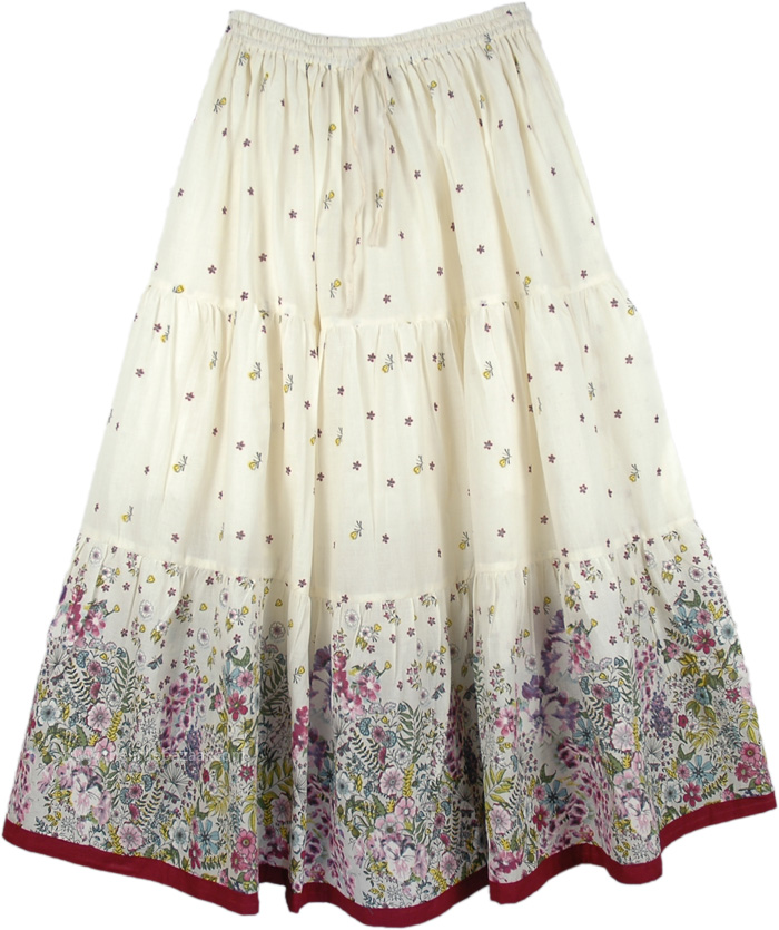 Floral Long Skirt in Pure Cotton, Spring Floral Cotton Long Skirt
