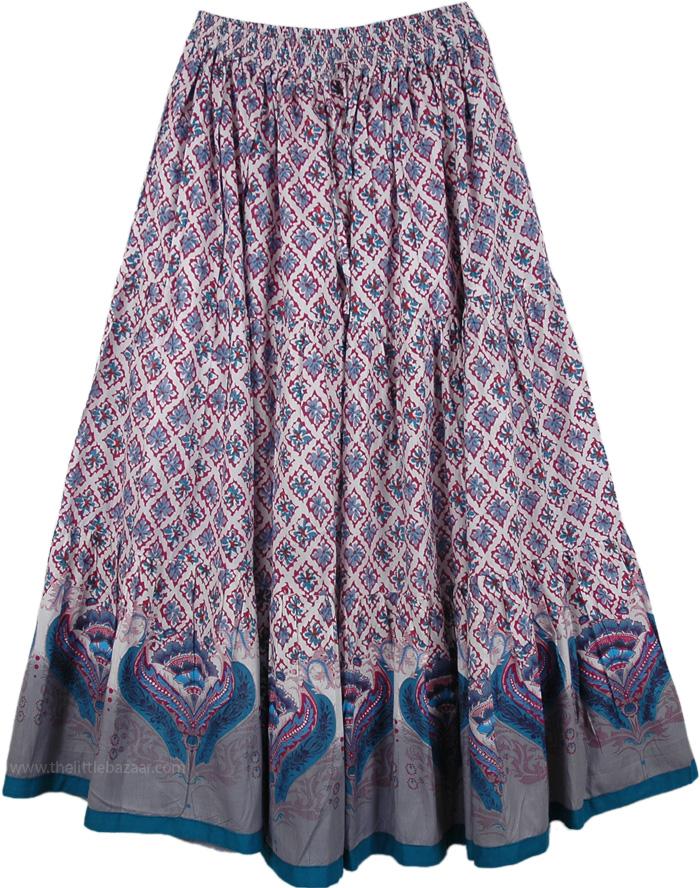Cotton Printed Long Skirt Floral Gray Pink Green, Dusty Gray Print Long Skirt