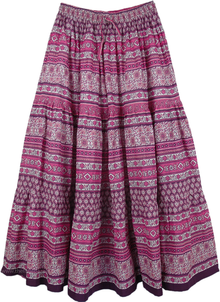 Pink Floral Printed Cotton Long Skirt, Charm Orchid Womens Pink Long Skirt