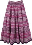 Pink Floral Printed Cotton Long Skirt [4469]