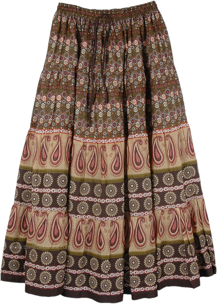 Old Beauty Long Summer Skirt, Tribal Printed Long Cotton Skirt