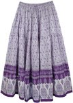 Purple Floral Cotton Printed Long Skirt [4471]