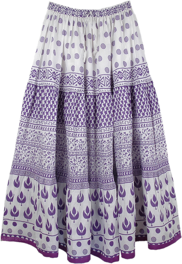 Purple Floral Cotton Printed Long Skirt, Royal Purple Cotton Long Summer Skirt