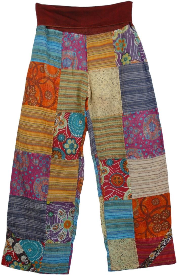 Yoga Pants Cotton Patchwork, Yajna Patchwork Lounge Pants