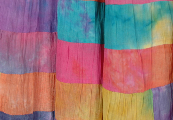 Rainbow Multi Color Patchwork Maxi Skirt