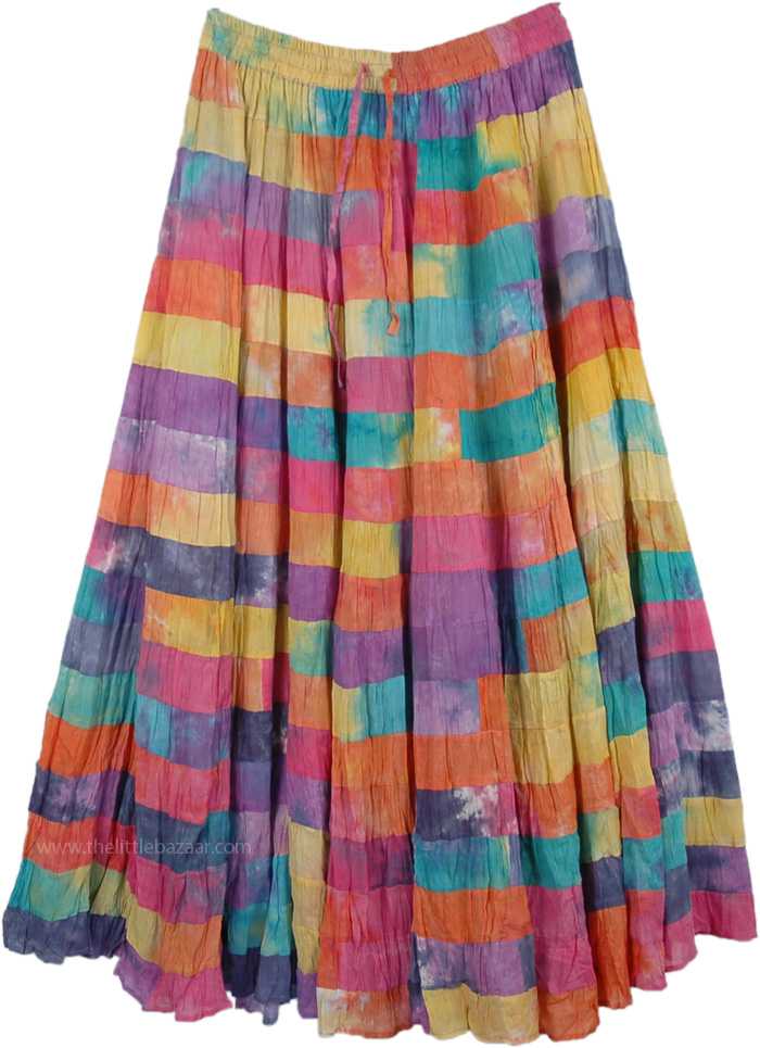 Patchwork Flexible Waist Skirt, Watercolor Multi Color Patchwork Maxi Skirt
