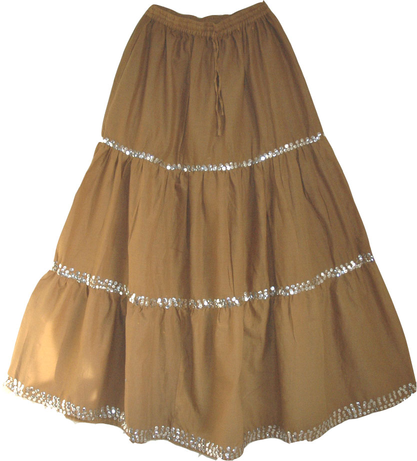 Brown Sequined Long Skirt