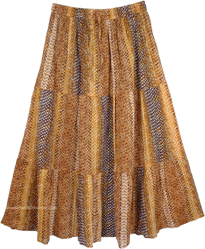 Snakeskin Print Summer Cotton Skirt, SnakeSkin Pattern Cotton Long Skirt