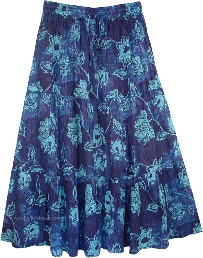 Cotton Fabric Island Skirt with Floral Print, San Juan Island Summer Festival Skirt