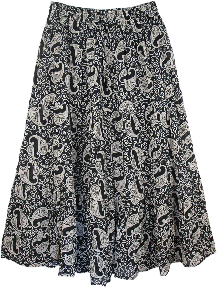 Cotton Black White Skirt with Floral Print, Black White Paisley Print Skirt in Cotton