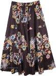 Black Floral Flare Long Skirt [4494]