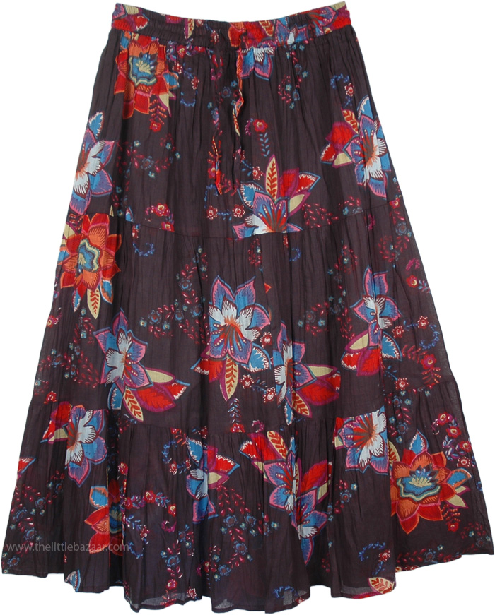 Flowers Cotton Printed Long Skirt, Ruby Floral Cotton Print Skirt
