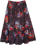 Flowers Cotton Printed Long Skirt [4495]