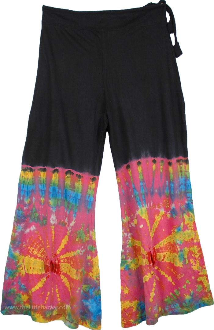 Fun Trouser in Mulberry Tie Dye, Tie Dye Wide-Leg Hippie Lounge Trousers