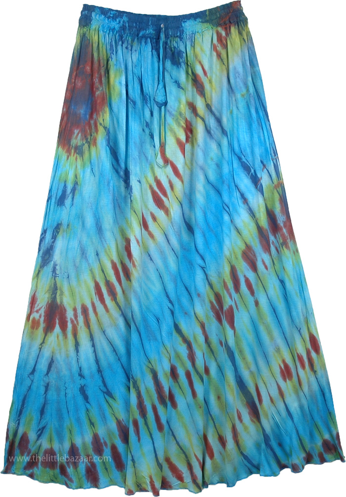 Maxi Womens Skirt in Waterfall Colors, Cascading Long Maxi Summer Skirt Tie Dye