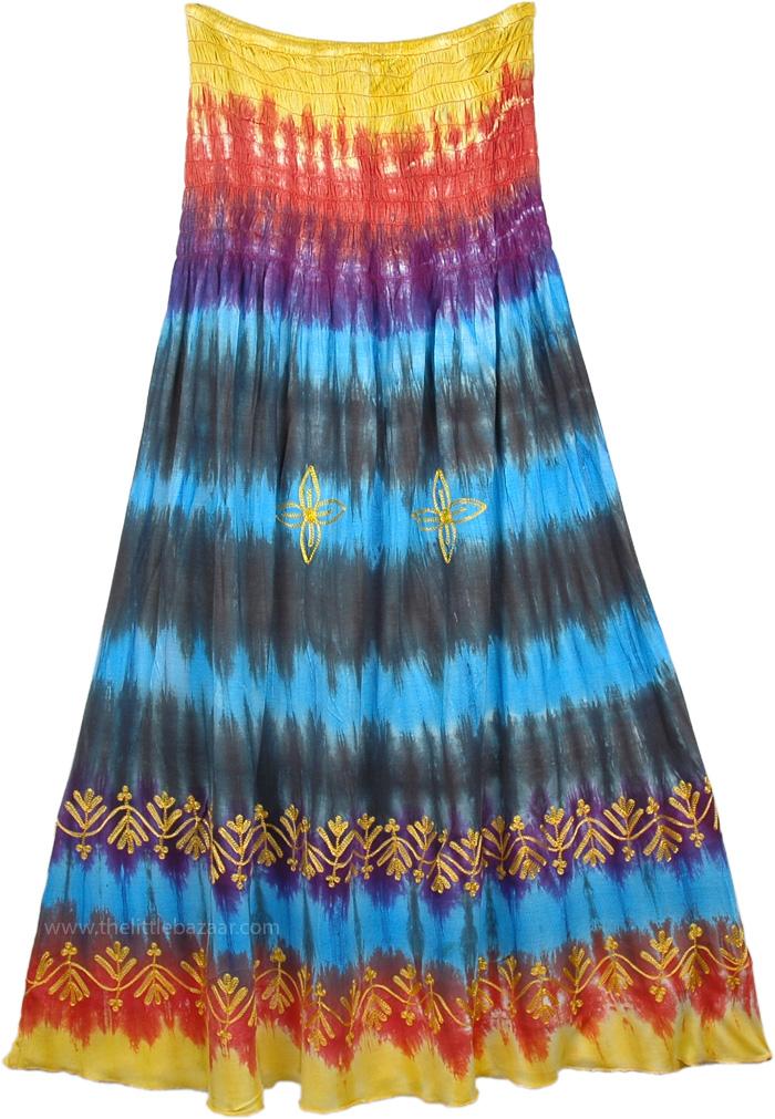 Hippie Tie Dye Burning Man Skirt, Boho Tie Dyed Hippie Maxi Full Long Skirt Dress