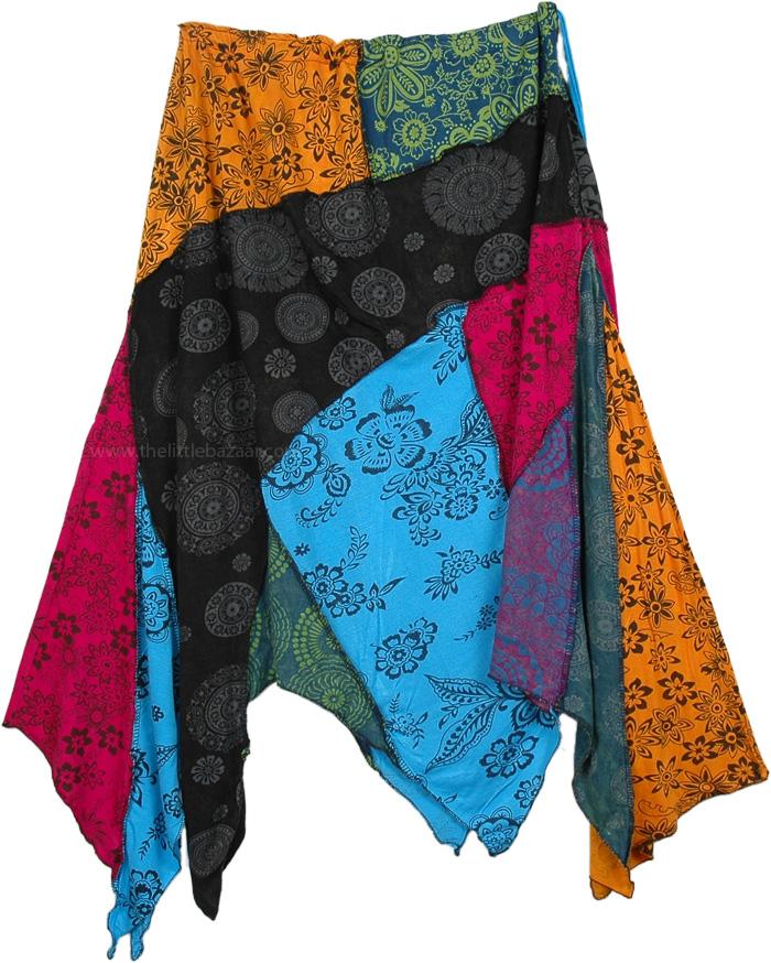 Seasons Colors Skirt in Feminine Florals, Mandara Uneven Hem Cotton Patchwork Skirt