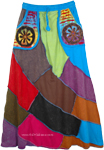 Womens Patchwork Skirt in Bright Colors [4575]