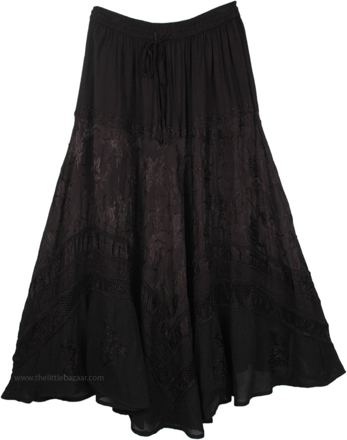 Black Renaissance Skirt with Embroidery, Rayon Embroidered Gypsy Renaissance Skirt