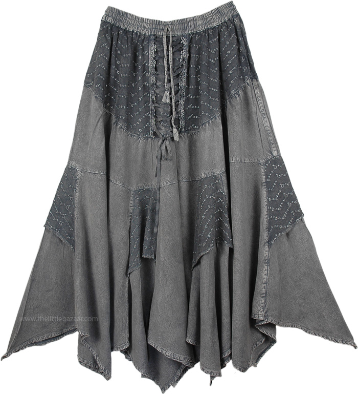Medieval Scottish Skirt with Embroidery, Womens Medieval Skirt Grey Stonewashed