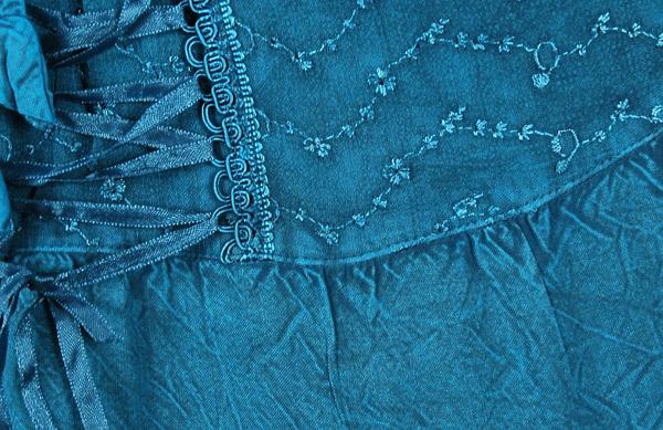 Handkerchief Hem Embroidered Teal Skirt