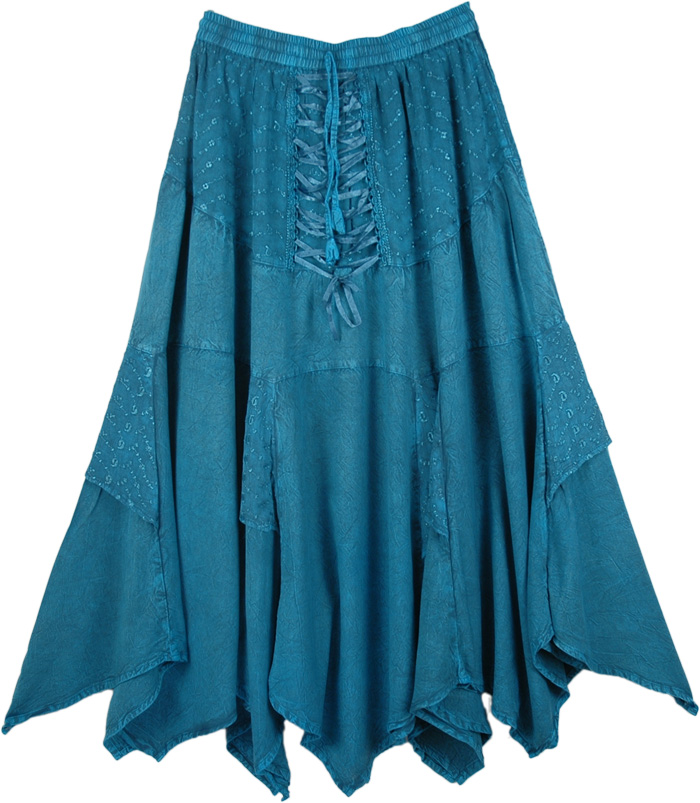 Medieval Irish Skirt with Embroidery, Handkerchief Hem Embroidered Teal Skirt
