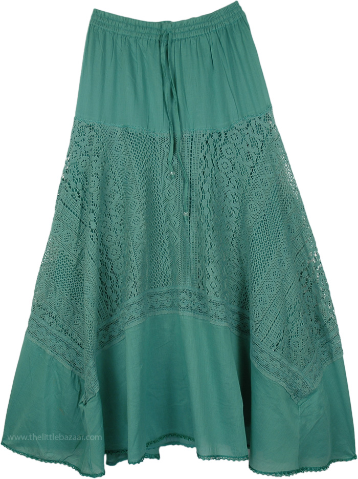 Coral Reef Lace Cotton Skirt, Tradewinds Lace Cotton Long Skirt