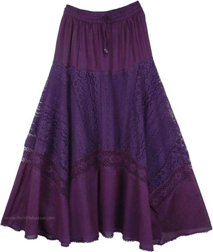 Lace and Crochet Detail Cotton Skirt, Honey Flower Lace Cotton Long Skirt