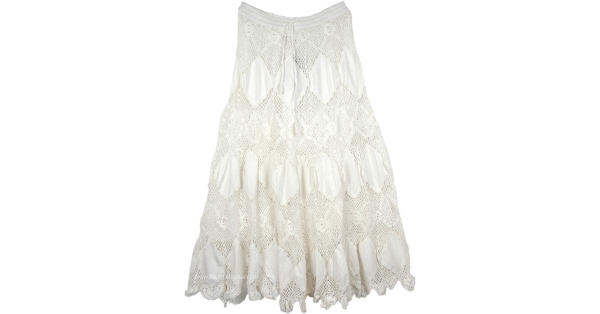 info for 60% discount marketable Mystic Bohemian Crochet Long Skirt in Pure White