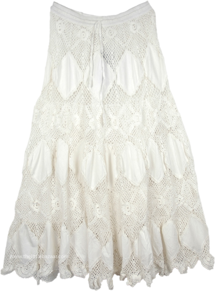 Mystic Bohemian Crochet Skirt In Pure White White New White