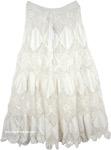 Hippie Knit Crochet Long Skirt in Snow White [4597]