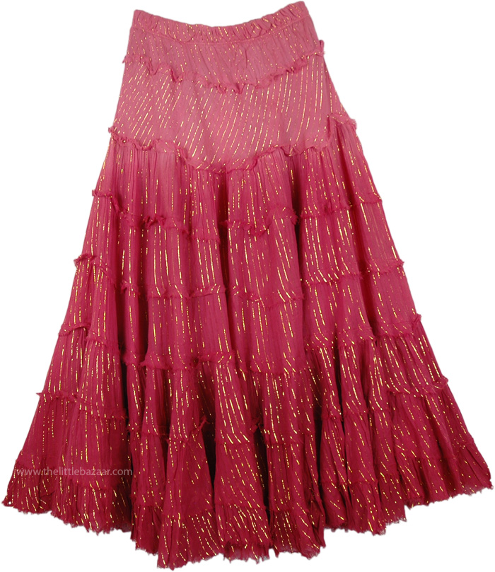 Womens Casual Long Shaded Hibiscus Skirt, Maroon Flush Tinsel Cotton Ombre Skirt