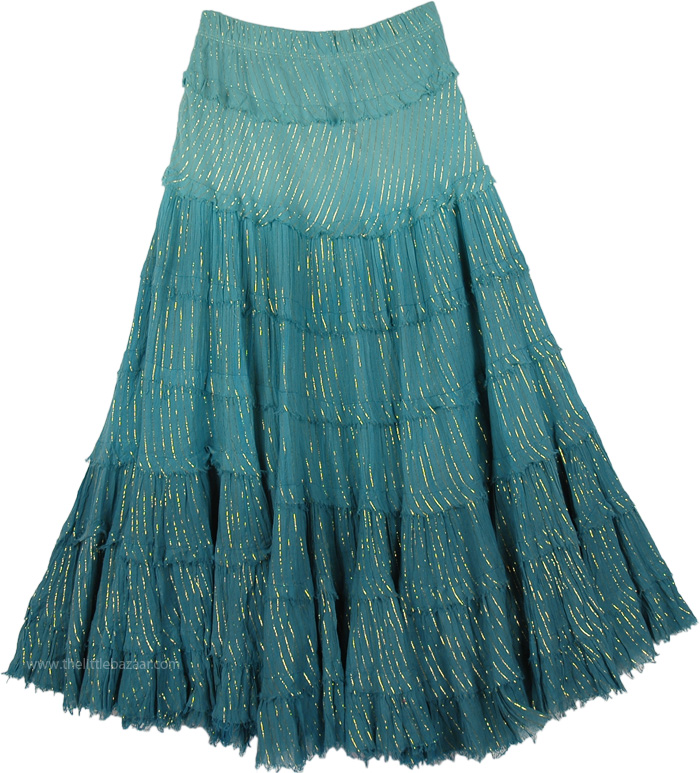 Womens Casual Long Shaded Green Skirt, Paradiso Tinsel Cotton Ombre Skirt