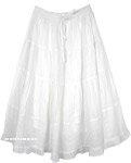 Classy Boho Summer Skirt in Snow White [4605]