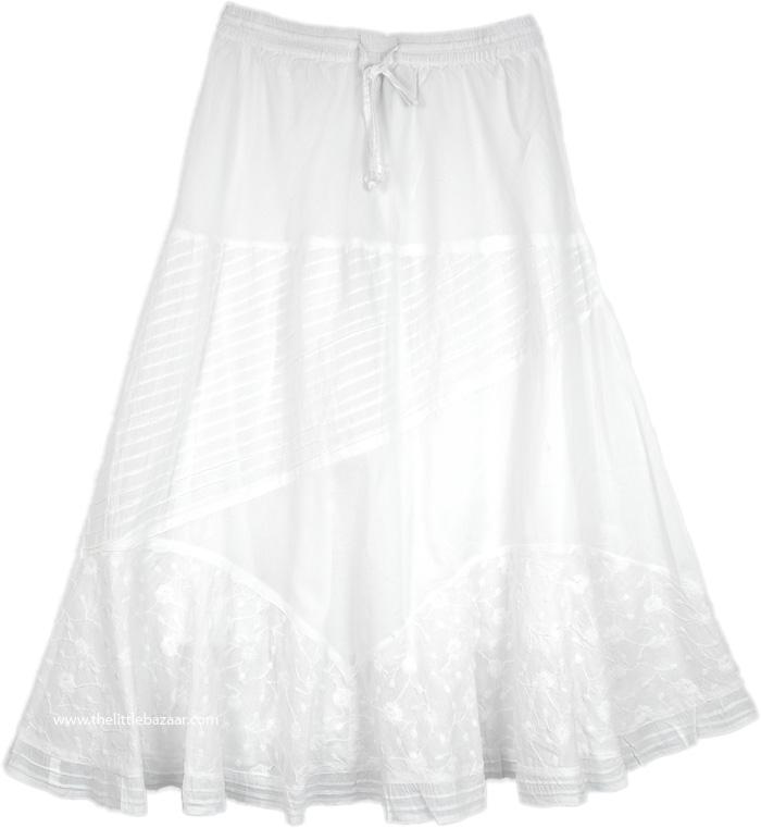 White Patterned Long Skirt, Manoa Falls Breezy Island White Skirt