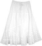 White Patterned Long Skirt [4606]